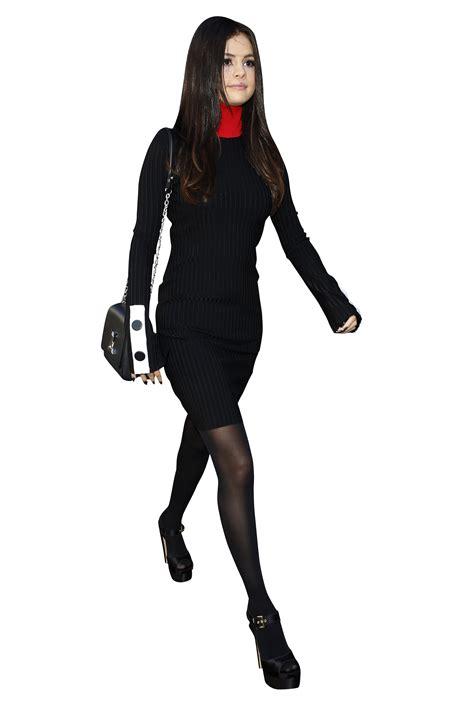 selena gomez walking  black png image purepng