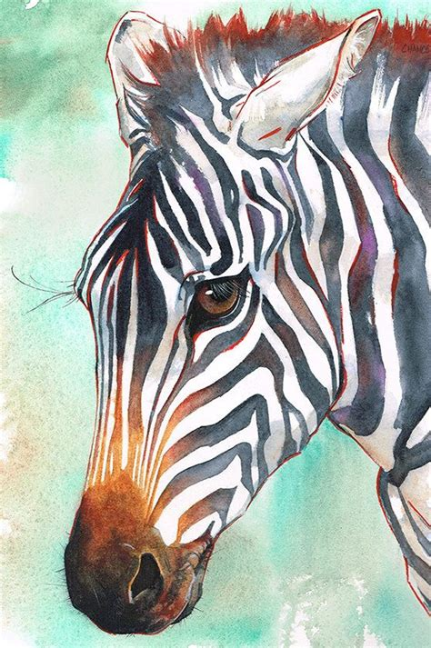 Abstract Black And White Animal Drawings by Zebra Original Painting Watercolor Wildlife
