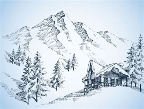 Snow Capped Mountain Drawing At Free For
