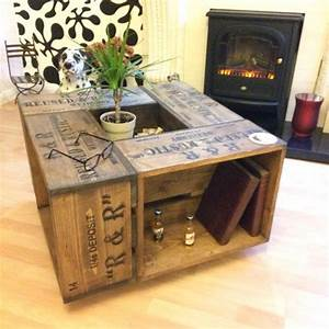 Rustic crate coffee table on wheel casters farmhouse for Rustic coffee table with casters