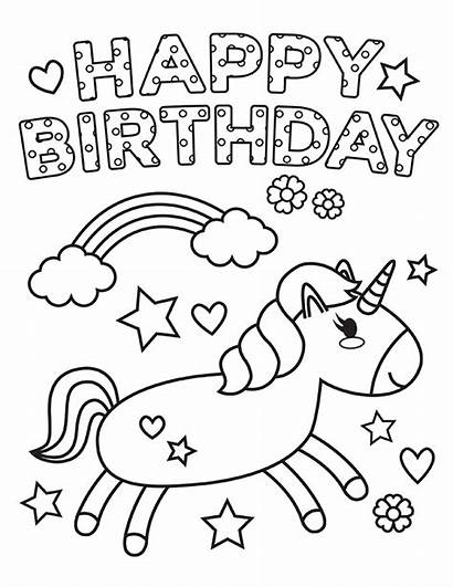 Unicorn Coloring Birthday Happy Colouring Sheet Printable