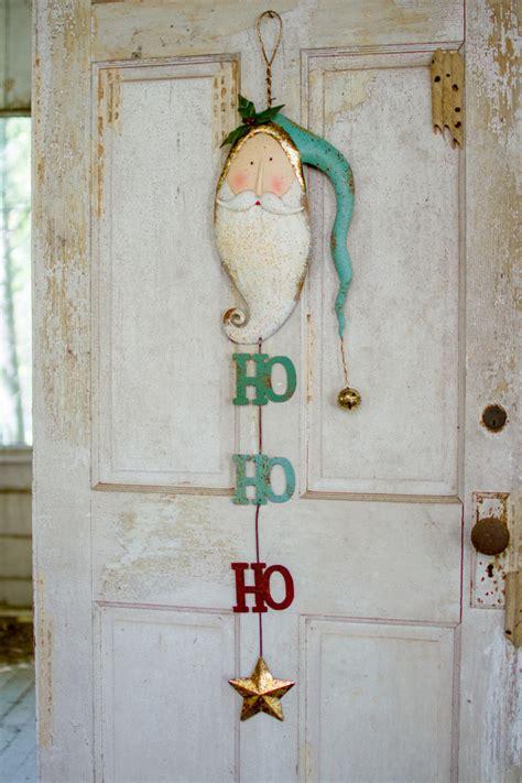 painted metal santa  bell door hanger