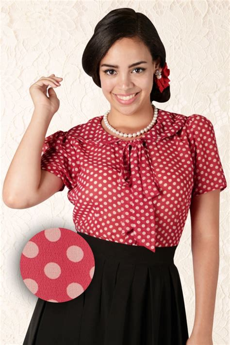 50s blouse 50s lucille polka chiffon blouse burgundy and ivory