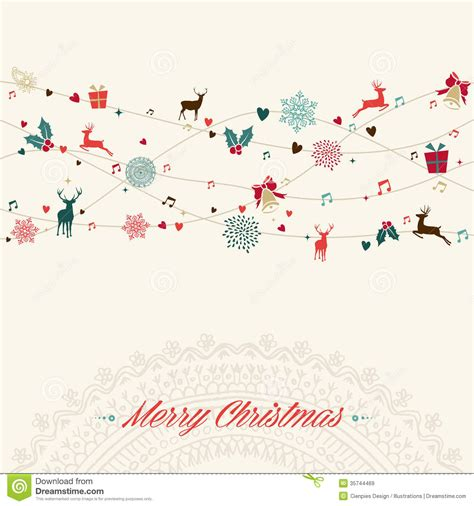 Merry Christmas Vintage Garland Card Royalty Free Stock