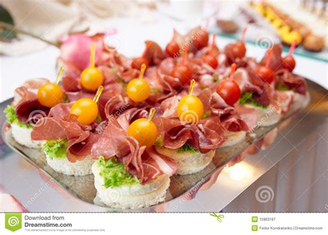 ham canapes canapes with cured ham royalty free stock photography