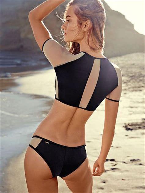 black colorblock mesh inset rashguard bikini top  sexy