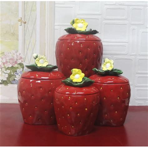 The galvanized metal canisters feature familiar farm messages and. Kitchen Canister Sets in Red Color - HomesFeed