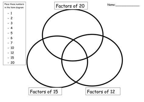 ks2 maths factors and multiples venn diagrams by