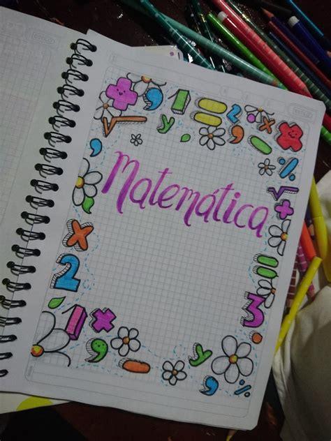 caratula  cuaderno de matematica caratulas bordes