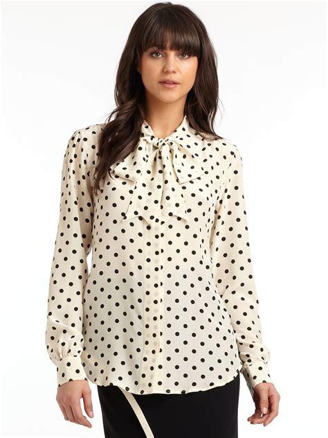 polka dot blouses moschino silk polka dot tie neck blouse in black lyst