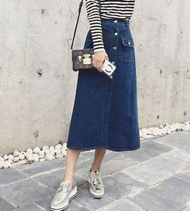 2015 New Arrival Women Denim Skirt Korean Style Fashion Pretty Long Fitness