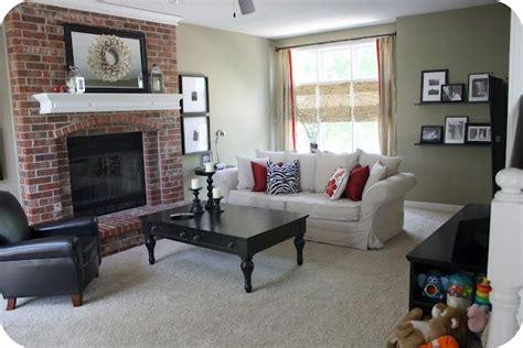 red brick fireplace w white mantel alyssadreissnack