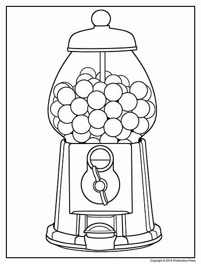 Gum Bubble Drawing Coloring Machine Clip Getdrawings