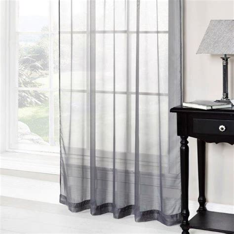 grey ring top voile curtain panel tonys textiles