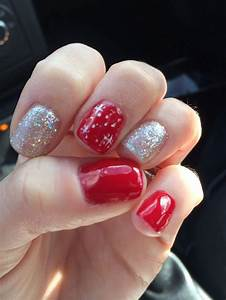 Christmas nails. Red. Glitter. Silver. White. Design nails ...