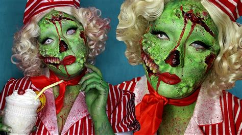 Pin Up Zombie Halloween Costume Makeup Tutorial Youtube