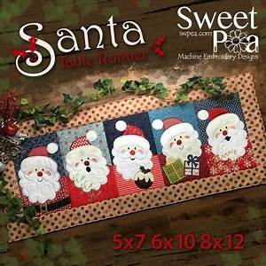 Christmas Embroidery Designs Santa Table Runner Sweet Pea
