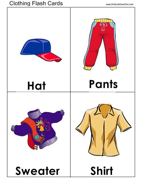 Clothes Flashcards  Flashcards  Preschool, Vocabulary, Clothes