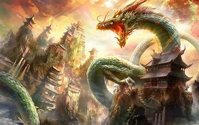 Dragon Chinese Fantasy Architecture Desktop Wallpapers Backgrounds