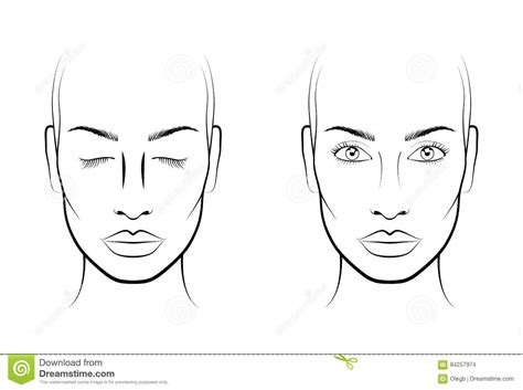 Makeup Artist Blank Face Template Sketch Coloring Page