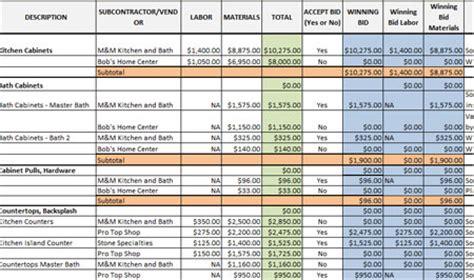 itemized bid worksheet excel template