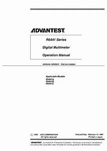 Advantest R6441 Dmm User Manual Service Manual Download  Schematics  Eeprom  Repair Info For