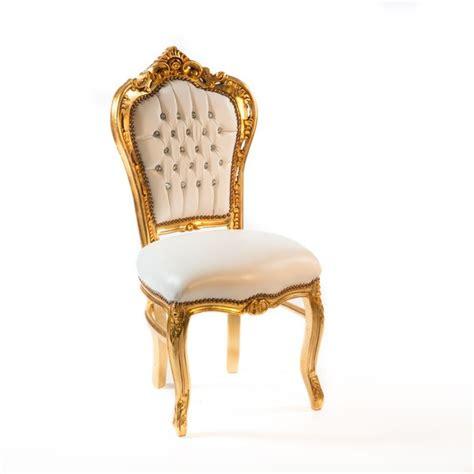 Sedia Barocca Sedia Barocco Da Salotto In Acciaio Color Oro Ecopelle Di