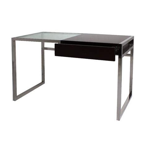 bureau bois et verre mobilier contemporain bureau inter mati 232 re en inox et verre avec tiroirs en bois