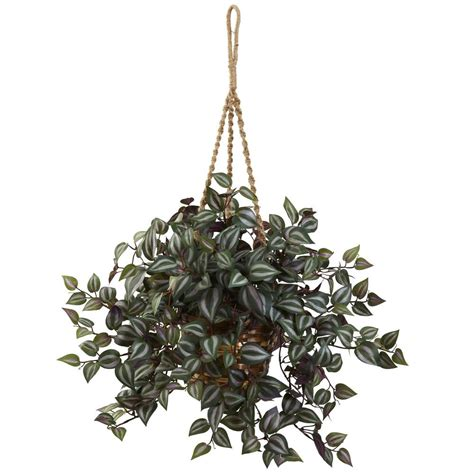 Nearly Natural 27 in. Wandering Jew Hanging Basket 6854