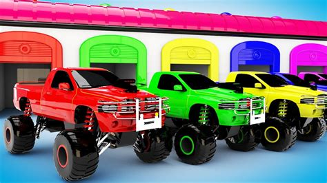 monster trucks trucks for monster truck vehicles parking learn colors with monster