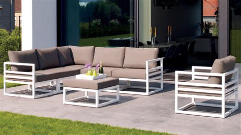 patio lounge furniture white aluminum fabri outdoor lounge set with taupe