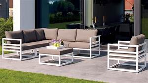 White aluminum fabri outdoor lounge set with taupe for Katzennetz balkon mit garden set