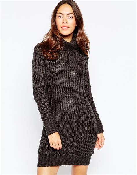 navy sweater dress brave soul high neck sweater dress with sleeves in