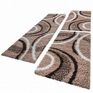 Teppich Läufer Beige : bettumrandung l ufer shaggy hochflor teppich muster braun beige l uferset 3 tlg alle teppiche ~ Orissabook.com Haus und Dekorationen