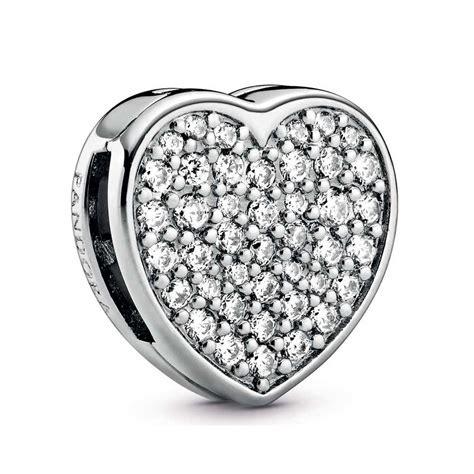 Pandora Reflexions™ Pavé CZ Heart Clip Charm - 798684C01 ...