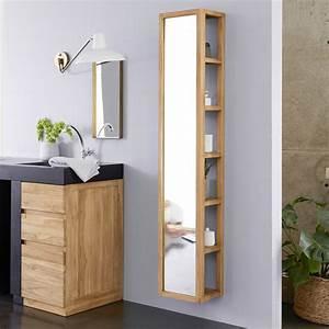 Bad Hochschrank Spiegel : straight mirror cabinet twig teak mirror cabinets tikamoon ~ Frokenaadalensverden.com Haus und Dekorationen