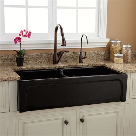 black kitchen sinks for sale 39 quot risinger double bowl fireclay farmhouse sink