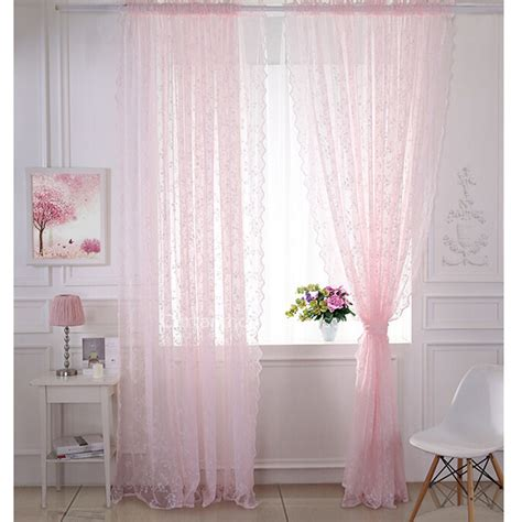 pastoral classic pink lace curtain embroidered floral