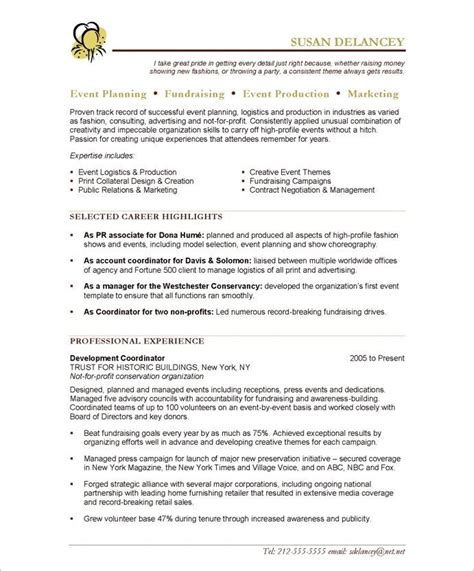 Event Planning Resume by Event Planner Page1 Non Profit Resume Sles