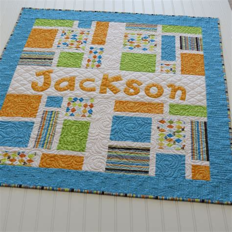 Fabric Applique Letters by Personalized Baby Quilt With Name Applique Fabric Letters