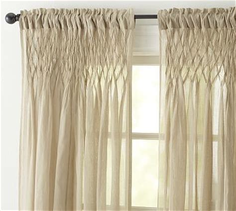 smocked cotton voile pole pocket drape 42 x 84 quot khaki - Smocked Curtains Drapes