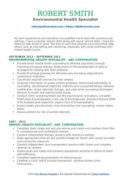 Environmental Specialist Resume by Mental Health Specialist Resume Sles Qwikresume