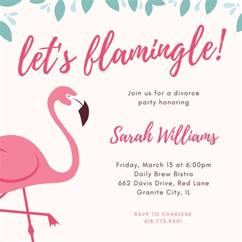 best home interiors pink flamingo divorce invitation templates by canva