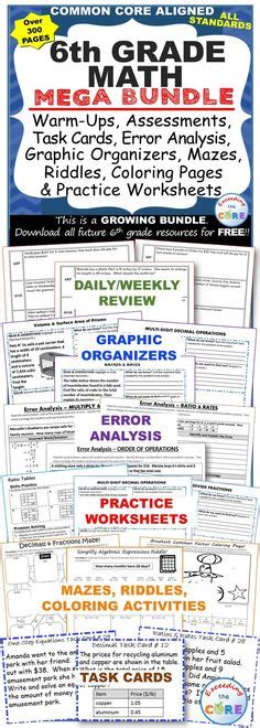 6th Grade All Year Math Packets Bundle { Common Core Assessment}  Equation, Homework And Middle
