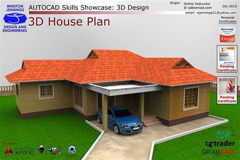 autocad skills showcase  house plan cgtrader