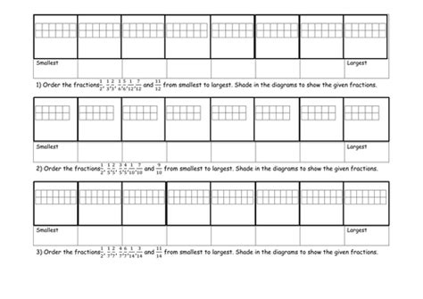 ordering fraction activity and worksheet by jad518nexus