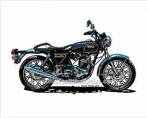NORTON COMMANDO 850 vintage motorcycle vector art print on ...