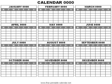 Blank One Month Calendar Template by Blank Yearly Calendar Template Printable Calendar Templates