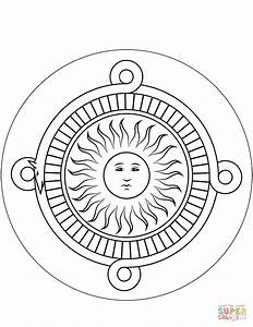 Aztec Calendar Stone coloring page   Free Printable ...