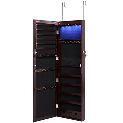 wall mounted jewelry cabinet with mirror video review songmics lockable jewelry cabinet wall door